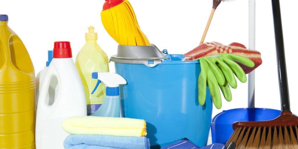Set of cleaning fluids and disinfectants to clean kitchenware